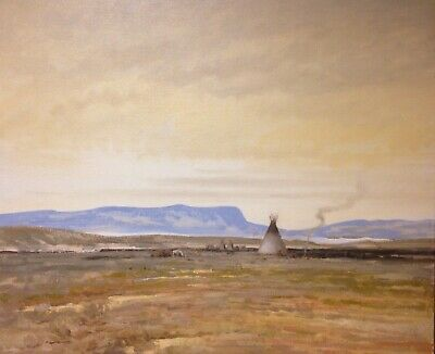 Native American West Western Plains Indian Art Oil Painting Cheyenne Tipi Fire