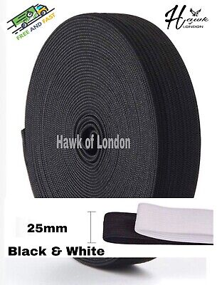 25Mm Top Quality Black/White Flat Woven Elastic Bands Sewing Various Lengths