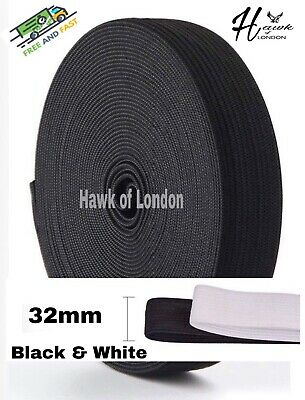32Mm Top Quality Black/White Flat Woven Elastic Bands Sewing Various Lengths