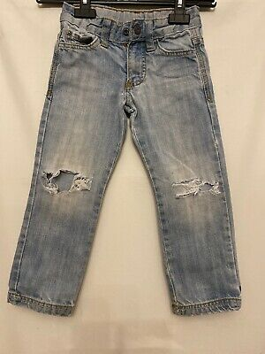 Boys Blue Jeans Age 3-4 Years Ripped Knee From Zara Torn Distressed
