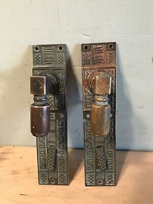 Early Brass Architectural Door Pulls Knobs 1886 G.L. Co. Antique
