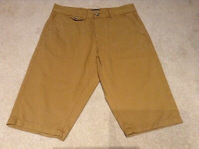 Boys Kangol Shorts Canvas Knee Length Button Fly Brown Extra Small Teenage New