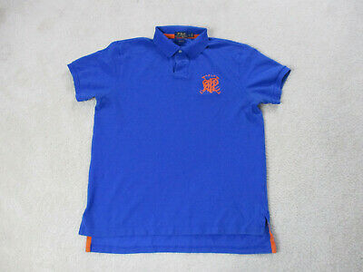 Ralph Lauren Polo Shirt Adult Large Blue Orange Scribble Casual Rugby Mens *