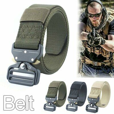 Mens Nylon Heavy Duty Military Belt Outdoor Tactical Army Hunting Waistband AU