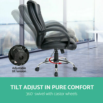 Black Computer Chairs Leather Office Chair Home Work Executive Leather Seating