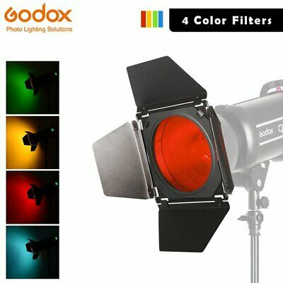 Godox BD-04 Barn Door Honeycomb Grid with 4 Color Filter for Standard Reflector