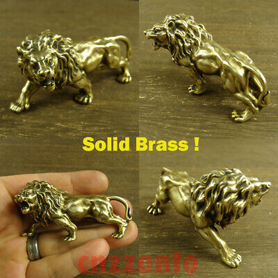 Solid Brass Cast male Lion Decoration figurine statue hand polish Z393