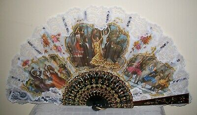 "XLARGE VINTAGE SPANISH FLAMENCO DANCERS HAND FAN 64x34cm (25"" wide)"