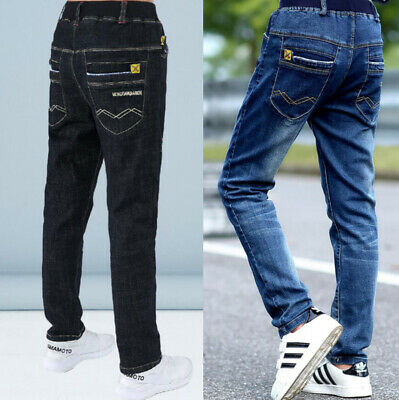 Fashion Kids Boys Slim Fit Cotton Straight Jeans Denim Pants Casual Trousers