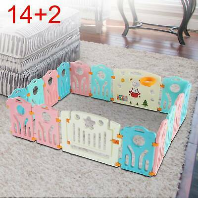 14+2 Panel Large Foldable Plastic Baby Mixed Color PlayPen & Education Functions
