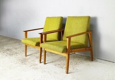 Pair 1960's Czech mid century upholstered armchairs
