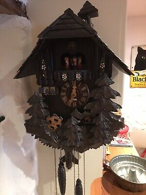 Vintage Musical Cuckoo Clock Schneider Black Forest Germany - Original Label