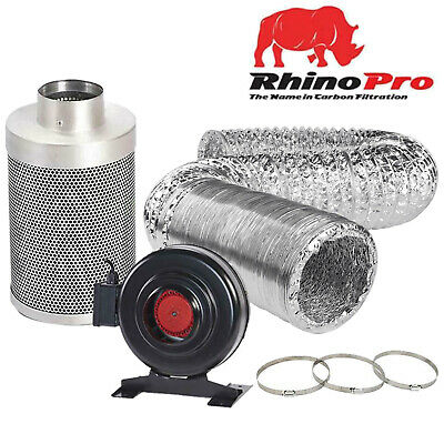 Hydroponics 4 5 6 8 10 12 Inch Rhino Pro Carbon Filter RVK Fan Kit Ducting Clips