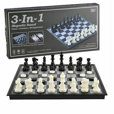 NEW 3 in 1 Large Magnetic Folding Chess Checkers Backgammon Board Game Set 32X32