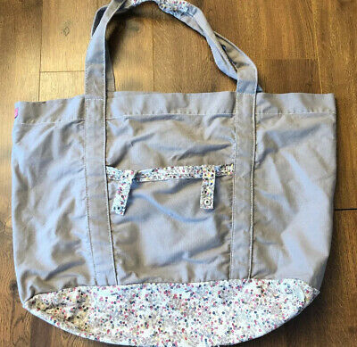 Thirty One X-Large Canvas Tan & Flowers Tote Duffle Bag Weekender Fold Up Snaps
