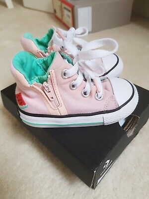 Girls Converse Infant 5 Pink Lovely Condition 💕 watermelons 🍉 with zips & box