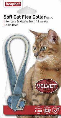 BEAPHAR VELVET SOFT CAT FLEA COLLAR 12 WEEK PROTECT WITH BELL Black or Blue