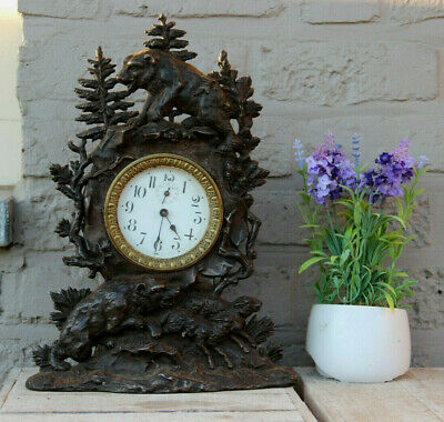 Antique Black forest Cast iron bear hunting sheep animal theme mantel clock