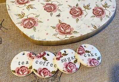 Emma Bridgewater Themed Clay Tags - Scattered Rose - Tea Coffee Sugar Cake