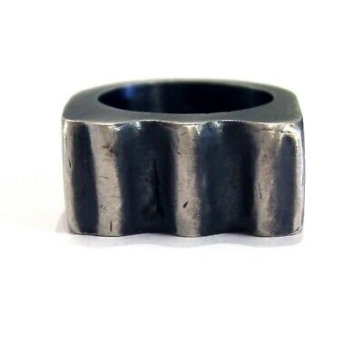 Mens brand NEW handmade ring antique brushed silver plated, punk rock goth style