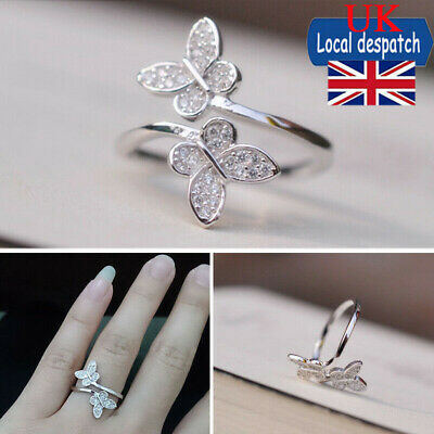 Butterfly Finger Ring Open 925 Sterling Silver Adjustable Thumb Women Jewellery