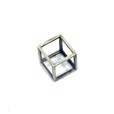 Mens handmade cube ring / necklace antique brushed silver, punk rock goth style