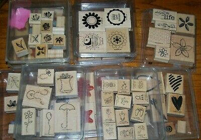 Stampin Up Lot - Stamp Sets  Wood Mounted - You Choose your set!  Box 1