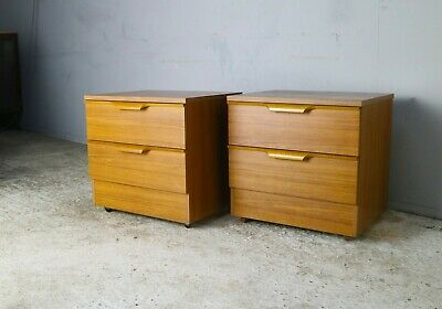 Pair 1970's mid century bedside cabinets by Europa