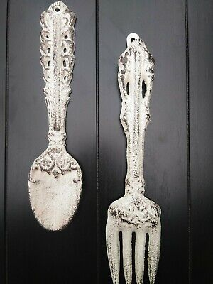 Kitchen Wall Decor, Cast Iron, Fork and Spoon Utensils, Farmhouse, Rustic, NEW