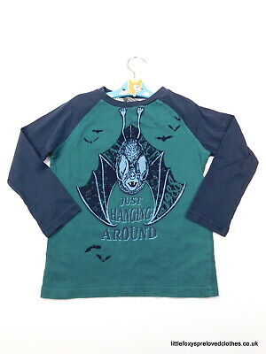 4-5 year Fat Face boys top long sleeves bat blue green Just hanging around