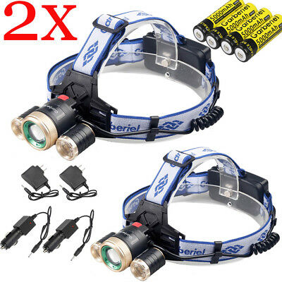2 Sets 900000Lumens 3 Head T6 LED Zoomable Headlamp Rechargeable 18650 Headlight