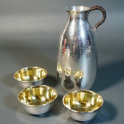 Antique Chinese Solid Silver Jug and Cups with Gold Wash, Marked Pure Silver