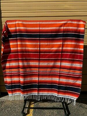 Serape XXL,5' X 7',Mexican Blanket,HOT ROD, Seat Covers,Motorcycle,  ORANGE MIX