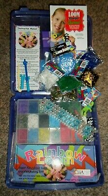 RAINBOW LOOM Lot - Loom, Rubber Bands, Instructions, Plastic Storage Boxes, Book