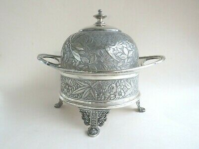 Antique Meriden Quadruple Silver Plate Covered Butter Dish Aesthetic Dragonfly