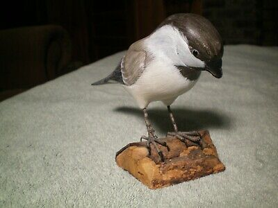 Vintage Black-Capped Chickadee Hand Carved Wood Carving