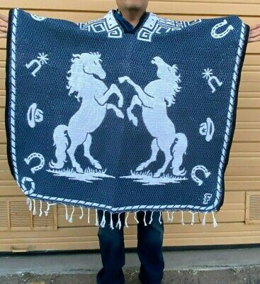 Mexican Poncho , Horse , Blanket Sarape Gaban ,One Size, Blue Mix