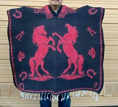 Mexican Poncho , Horse , Blanket Sarape Gaban ,One Size, Black And Red