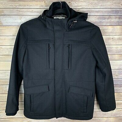 Kenneth Cole New York Mens XL Black Wool Button And Zip Up Jacket Removable Hood