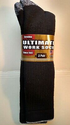 4 Pair Men's Ultimate Thick Soft Black Mid Calf Work Sock Reinforced Size Large
