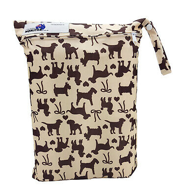 Brown Dogs Large Zip Dry & Wet Bag - Baby Cloth Nappies, Waterproof