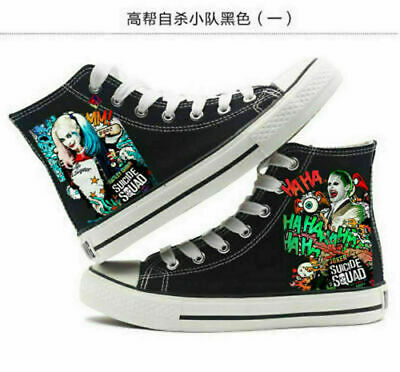 NEW Suicide Squad Harley Quinn Joker High Canvas Shoes Casual Sneakers Couple