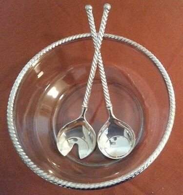 EP ZINC ITALY Vintage GLASS SALAD BOWL & SERVING SPOON FORK Twist Silver Plated