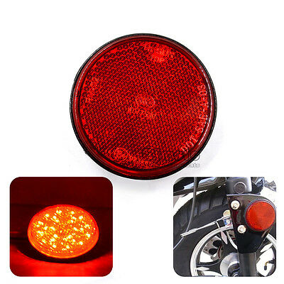 1x  Round Red LED Reflectors Tail Brake Stop Light Motorcycle Truck Trailer Car