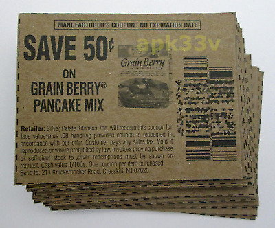25x Grain Berry Pancake Mix Grocery Coupons ▰ Save 50 Cents ▰ No Expiration Date
