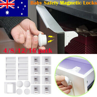 AU 16X Magnetic No Drilling Cabinet Drawer Cupboard Locks Baby Kids Safety Lock