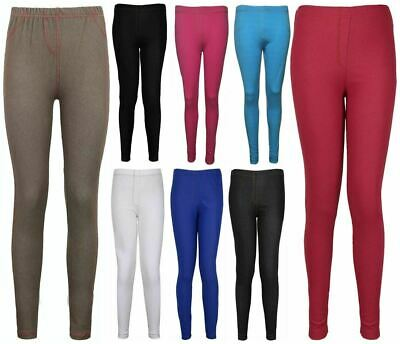 Womens Plain Elasticated Waist Leggings Pants Ladies Full Length Jeans Pants