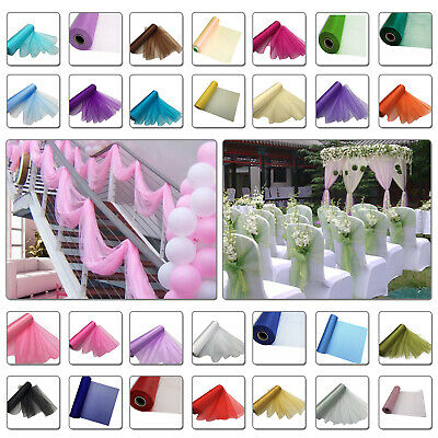 Organza Roll Fabric Chair Sash Bows Table Runner Wedding Party Decor 25m X 29cm