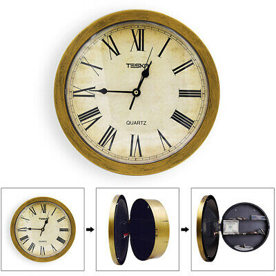 Retro Wall Hanging Pointer Watch Clock Secret Office Security Vintage Safety Box