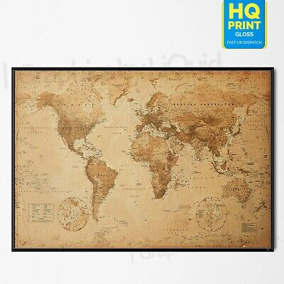 World Map Antique Vintage Style For Geography Poster Art Print | A4 A3 A2 A1 |